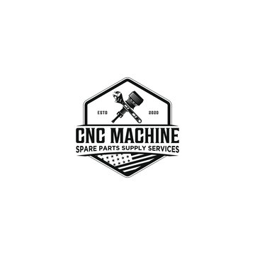 CNC machine service sparepart logo design