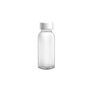 Small glass medicine bottle with white cap isolated on white background