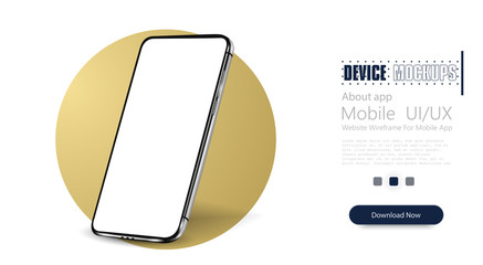 Smartphone frameless blank screen, rotated position. 3d isometric illustration cell phone. Smartphone perspective view. Template for infographics or presentation UI design interface.Modern Gold circle