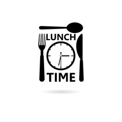 Lunch time text icon on white background