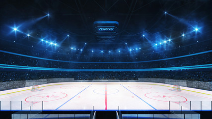 Grand ice hockey rink and illuminated indoor arena with fans, tribune side view, professional ice hockey sport 3D render