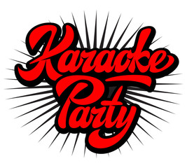 Vector illustration with calligraphic inscription karaoke party on white background