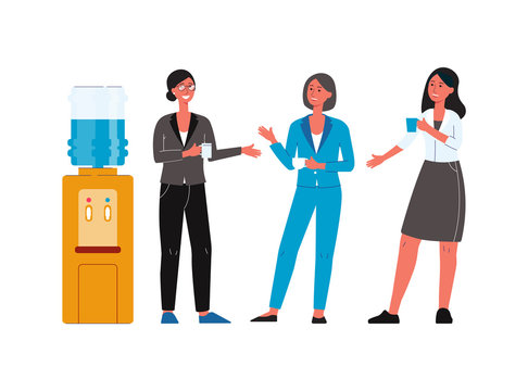 Cartoon people standing by office water cooler and having conversation -