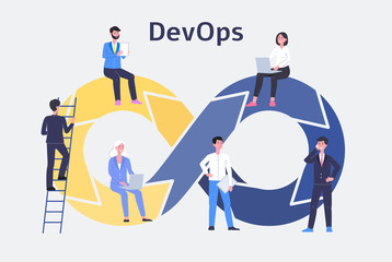 DevOps, development and operations technology flat vector illustration isolated.