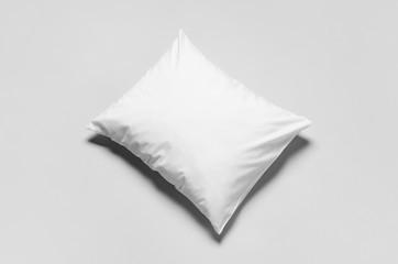 White blank pillowcase mockup. Grey background. Wall mural