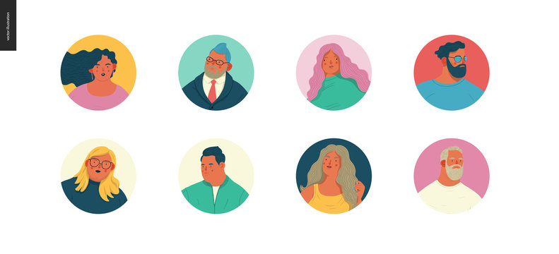 Body positive portraits set - hand drawn flat style vector design concept illustration of men and women, male and female faces and shoulders avatars. Flat style vector icons set