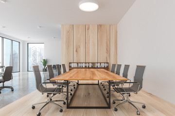 White and wooden conference room interior
