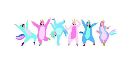 Set of men and women dressed in  unicorn pajamas or kigurumi. Celebration. Vector illustration.
