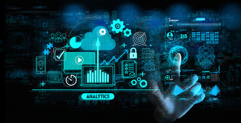 Hand touching Business data analytics process management with KPI financial charts and graph and automated marketing dashboard. Wall mural