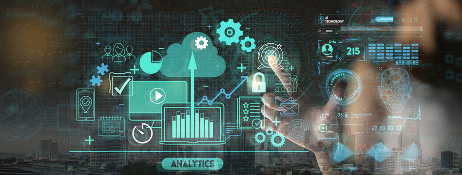 Hand touching Business data analytics process management with KPI financial charts and graph and automated marketing dashboard.