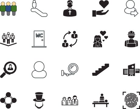 people vector icon set such as: arrow, guide, profession, message, traffic, trust, motion, unisex, therapist, leader, leisure, handshake, crowd, salon, log, day, stairs, lincoln, preacher, priest