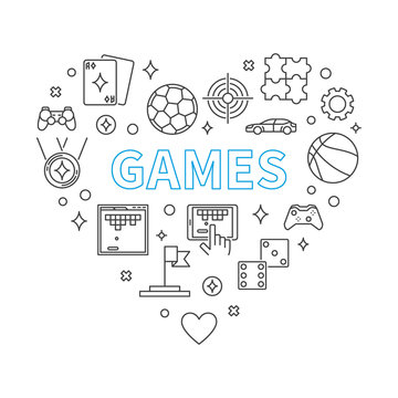 Games Heart vector concept illustration in outline style on white background