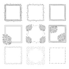 Hand Drawn Collection of Square Frames. Vector elements for logo, invitations, card, templates