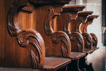 Benches in the catholic church