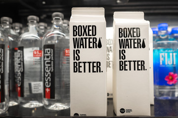 Boxed Water Is Better brand for sale on a store shelf with other bottled brands in Seattle on April 9, 2017