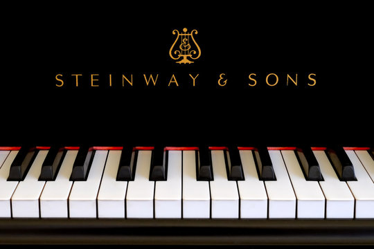 Steinway piano logo close up on black ebony grand in San Francisco on January 4, 2015