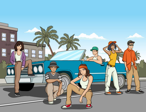 Hispanic young people in front of a lowrider car. Vintage car in the city.