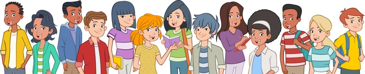 Group of cartoon young people. Teenager students.