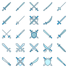 Sword creative icons. Vector collection of crossed swords and shields blue signs