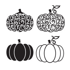 Vector cut out pumpkin decorative set.