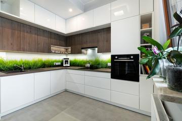 Obraz Modern interior design - kitchen - fototapety do salonu
