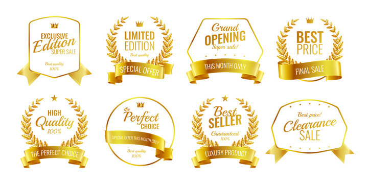 Golden Award Emblems Set