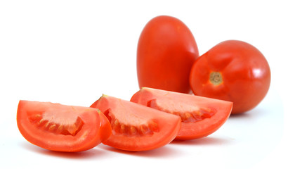 Tomato vegetable and slice isolated on white background