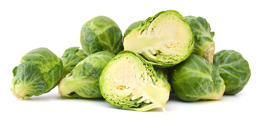 Canvas Prints Brussels freshly brussel sprouts and some whole ones on a white background