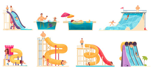 Aqua Park People Set Wall mural