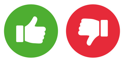 Thumbs up and thumbs down. Like icon. Stock vector