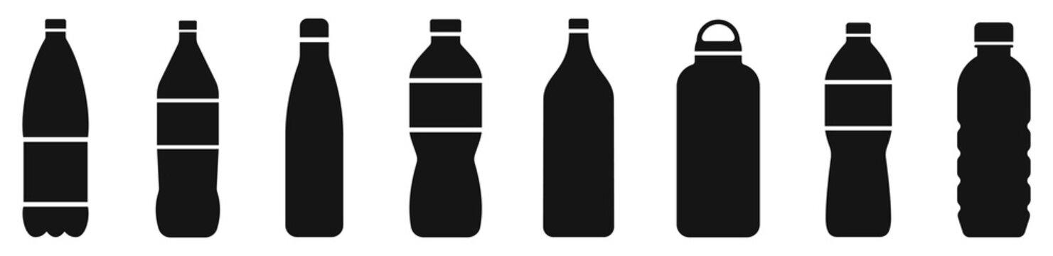 Water bottle set. Plastic bottle collection. Vector illustration