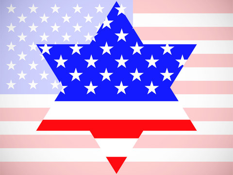 Star of David with america flag inside