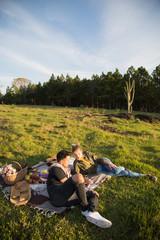 Couple in love enjoying picnic day