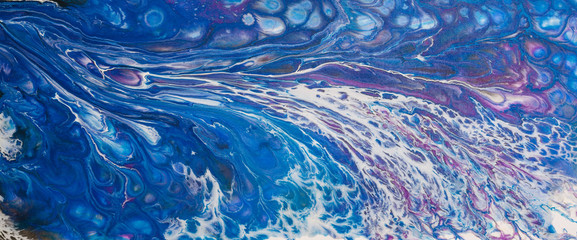 Original acrylic abstract painting in blues and white representing movement of waves.