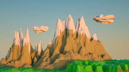 low poly landscape with stylized mountains. 3d rendering illustration