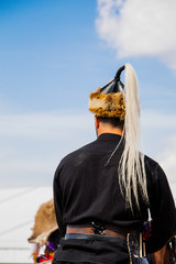 Man wearing traditional turkish hat in view