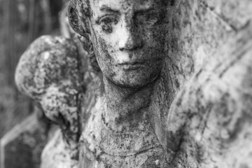 Marble sculpture of an angel at cemetery