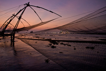 Twilight in the Chinese Fishing Nets of Fort Kochi