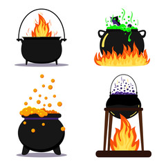 Flat design vector illustration set black halloween witches cauldron with green, orange, purple poison potion isolated.