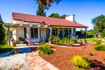 Drought Tolerant Plants & Landscaping In Rear Of Home