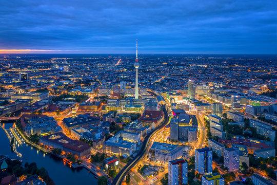 Berlin skyline in the night. Germany