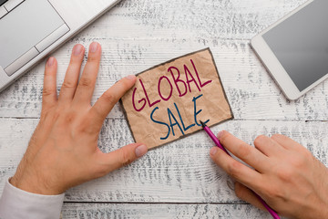Text sign showing Global Sale. Business photo showcasing analysisagers operations for companies do business internationally
