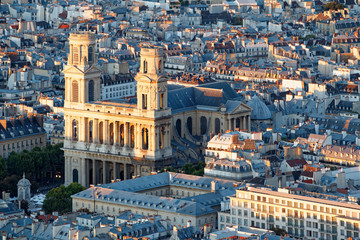 Aerial scenic view of central Paris with Saint-Sulpice cathedral. Photo taken from Montparnasse tower