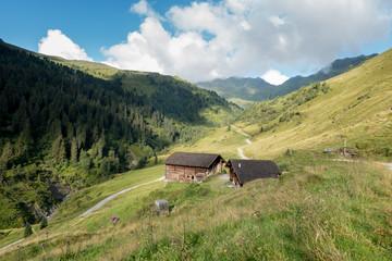 Fototapete - Almhütten in den Bergen