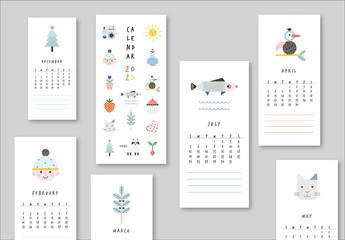 Calendar Layout with Illustrative Decor Elements