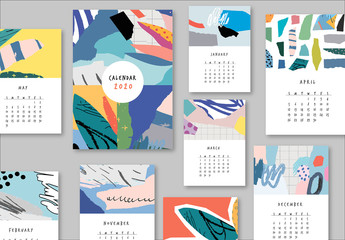 Calendar Layout with Graphic Elements
