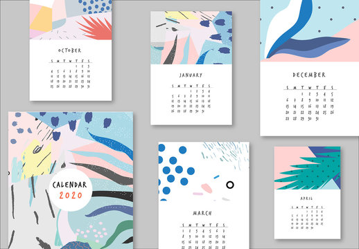 Calendar Layout with Floral Elements