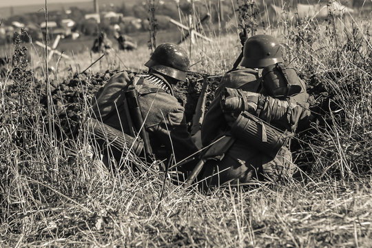 German soldiers. Historical reconstruction, soldiers fighting during World War II