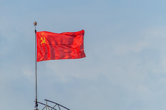 Soviet flag at the Belarusian State Museum of the History of the Great Patriotic War in Minsk