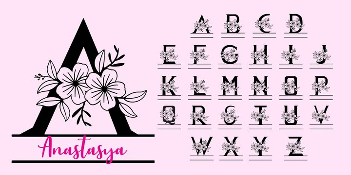 A-Z Monogram split letters with flower
